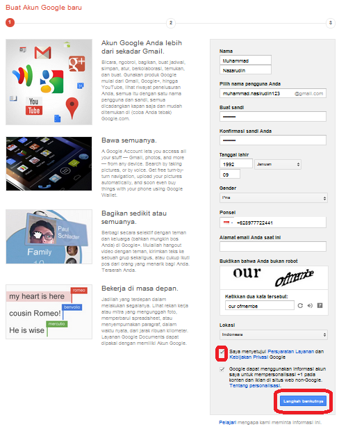 Mengisi Formulir Gmail