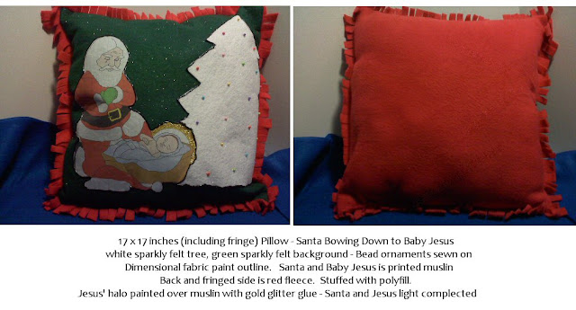 Shades of Safhire -Santa Bowing Down to Baby Jesus Christmas Pillow