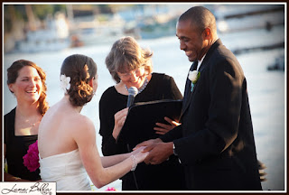 Wedding ceremony of Chris and Karen officiated by Patricia Stimac, Seattle Wedding Officiant, at the Skansonia Ferry