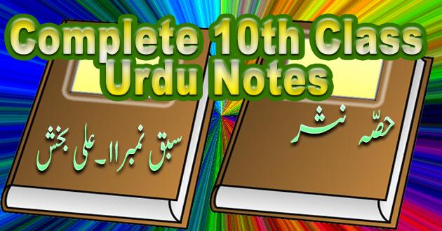 10th Class Urdu Sabaq# 11 Ali Bakhsh
