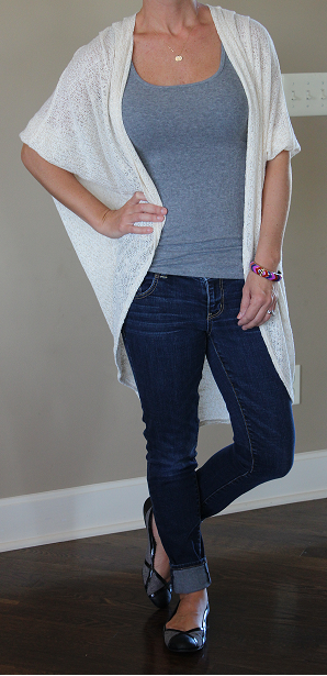 Cardigan: Painted Threads (sold out), longer version here (only $23!), similar here, here, and here  Jeans: American Eagle (one sale for $20!), similar here, here, and here  Flats: Jessica Simpson (old), similar here (in metallic tweed), here, and here  Tank: Mossimo, similar here, here, and here  Bracelet: Target (old), very similar here (only $9!), here, and here  Necklace: Etsy, similar here (50% off!), here, and here