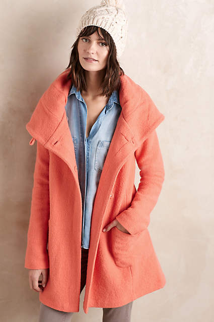 anthropologie boiled wool sweater coat on sale moth