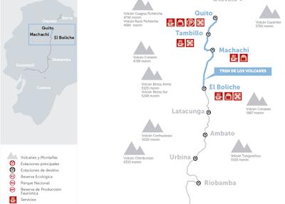 mapa Turismo en Ecuador – Viaje turístico en Tren – Tour Tren de los Volcanes