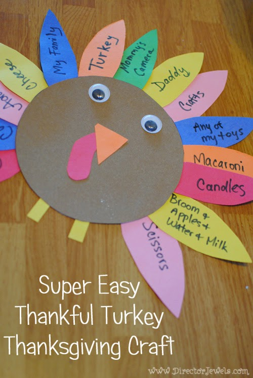 Director jewels super easy thankful turkey thanksgiving for Easy thanksgiving craft ideas