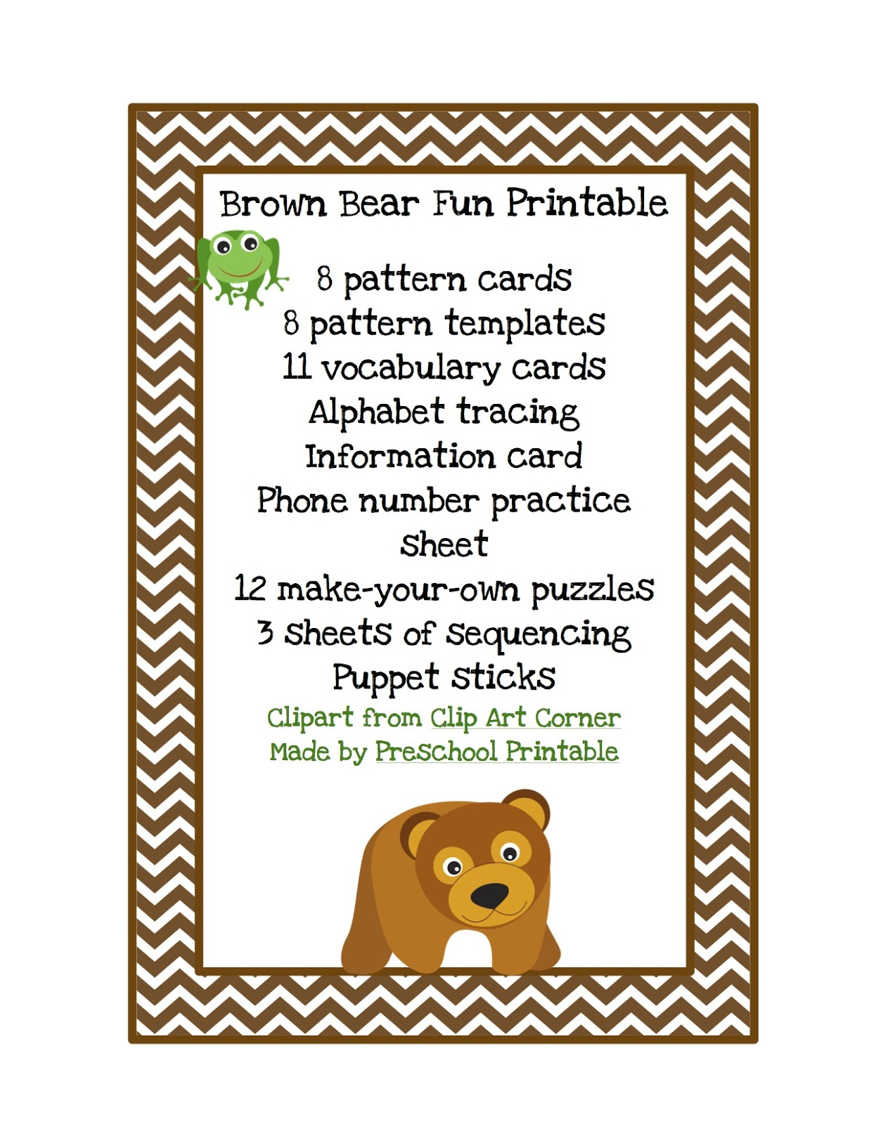 brown bear fun printable preschool printables