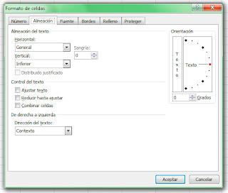 Formato de celdas en Excel 2007. Alineación