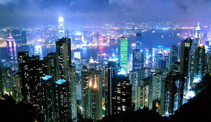 The City of Hong Kong at night
