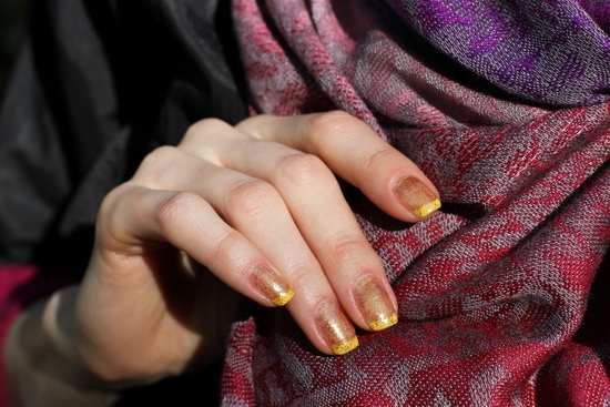 Yellow And Glitter French Manicure Sally Hansen Sinful Colors Professional