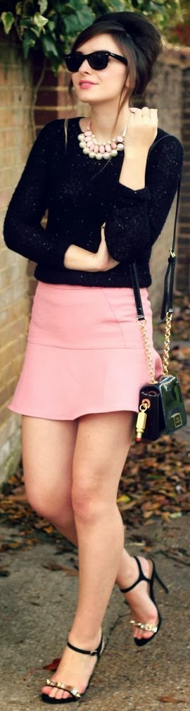 Black short top and pink mini skirt