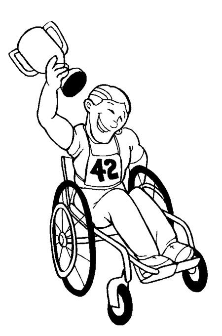رجل معاق حركيا يفوز بالسباق متحديا الاعاقة وهو مبتسم للتلوين