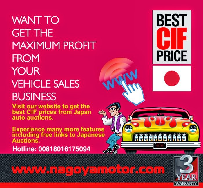 NAGOYA MOTOR COMPANY LTD is one of the leading automobile trading company in Japan. We export high quality used cars from Japan to almost any country in the world. Our Experienced Used Vehicle Inspectors and Professional Auction Agents will make your business Easier.  We are exporting hand-picked high quality Japanese used cars direct to private buyers and dealers worldwide from auctions in Japan. Non-auction fixed price car exports are available too.  We are auctions Agent of new/used motor vehicles and machinery equipment.  As well as The customer will receive the better car than his expecting.This is our eternal desire to the customer in the world.  Please Call us today to find out more about our Auction Agent Services and everything else that we can offer to make your business more profitable by offering you the highest quality product available from Japan at the best prices! we are link with many shipping line in japan.  so we can deliver your dream vehicle to your door step with the fastest shipping