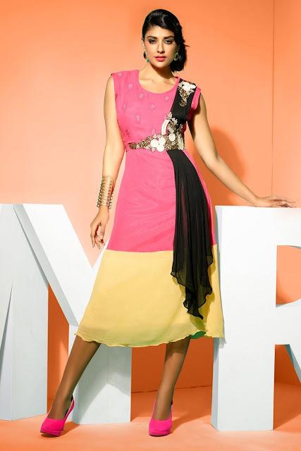 Cream & Pink Faux Georgette Kurti