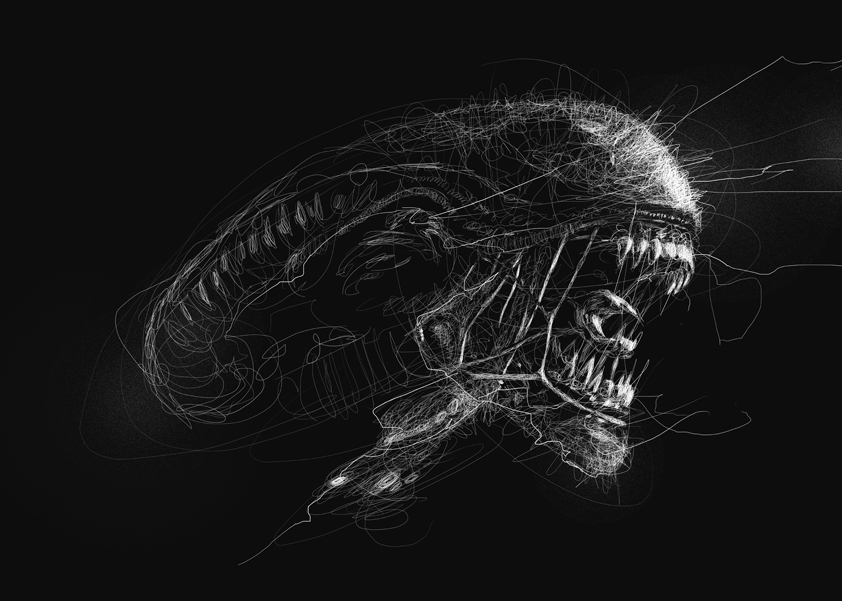09-Alien-Queen-Vince-Low-Scribble-Drawing-Portraits-Super-Heroes-and-More-www-designstack-co