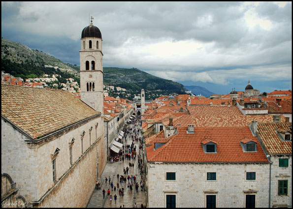 Arial view of Dubrovnik, Croatia's old town main street with tourists