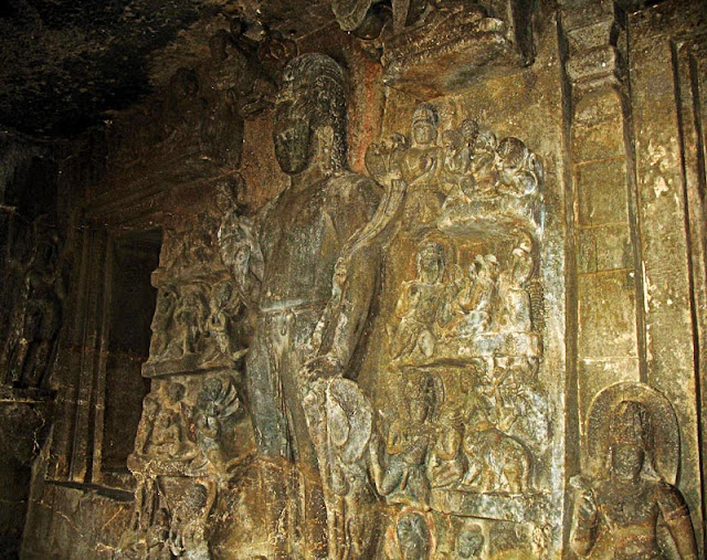 decorated fresco at the Aurangabad caves
