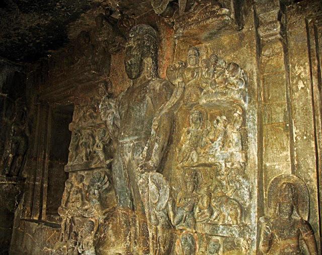 decorated fresco at the Aurangabad caves