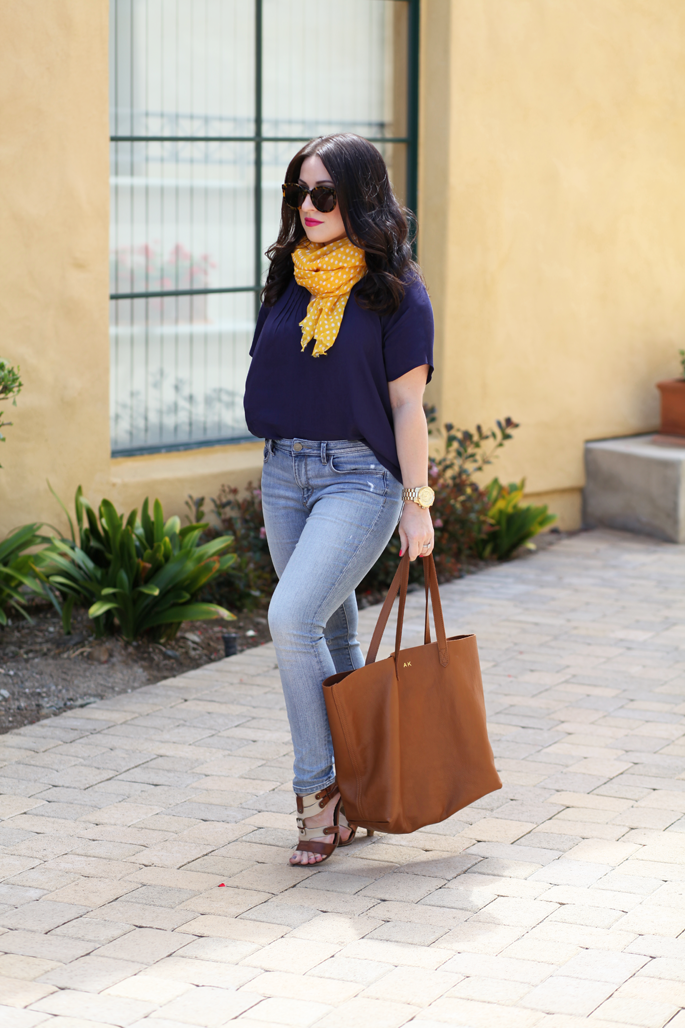 cuyana-tote-fraas-yellow-polka-dot-scarf-le-tote-top-mac-girl-about-town-lipstick-michael-kors-watch-karen-walker-super-duper-strength-sunglasses-king-and-kind-spring-outfit-ideas