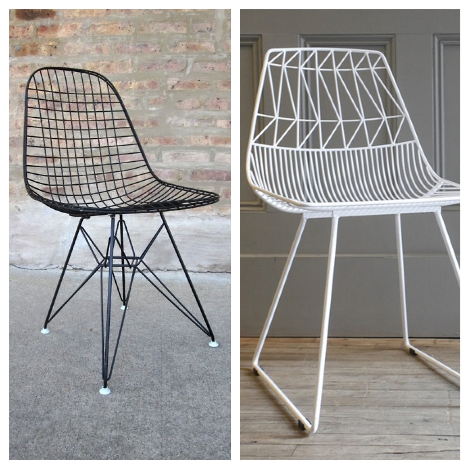 Chair wire chairs missing cover - Examples Of Classic And New Wire Designs Left Eames Wire Chair And White Wire Chair By Michele Varian