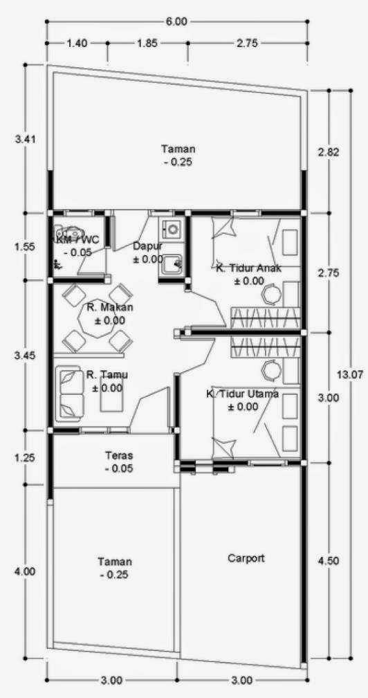 denah rumah tipe 36 minimalis