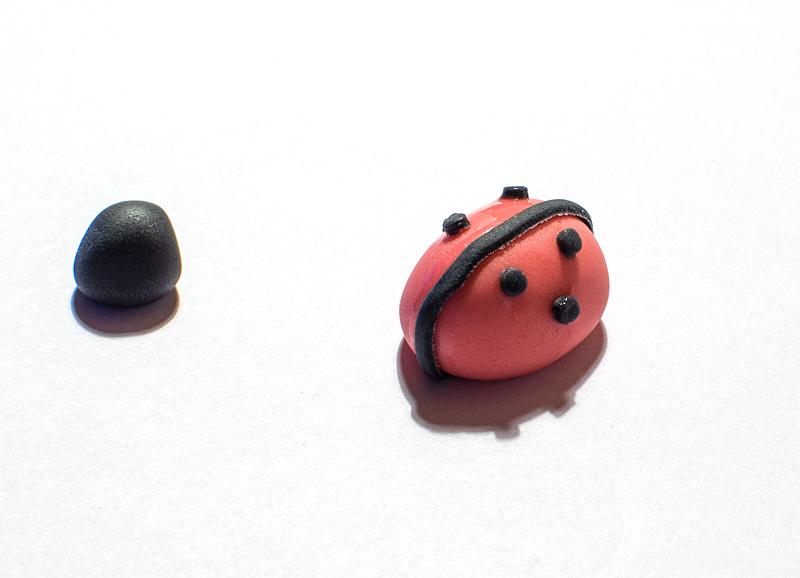 Ladybug fondant figure little spots on body