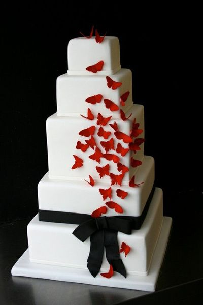 Black And Red Wedding Cake Design Three Colors White Cakes