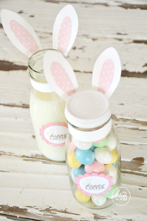 Party fun for little ones sweet simple easter gift ideas these adorable milk bottle bunnies filled with sweets are a cute and thoughtful easter gift love them from the idea room full tutorial printable labels negle Images