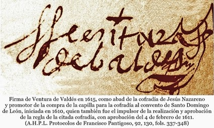 Firma de Ventura de Valdes. 1615. 21 de abril