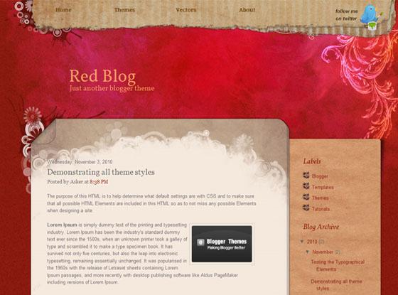 красный шаблон для блоггера