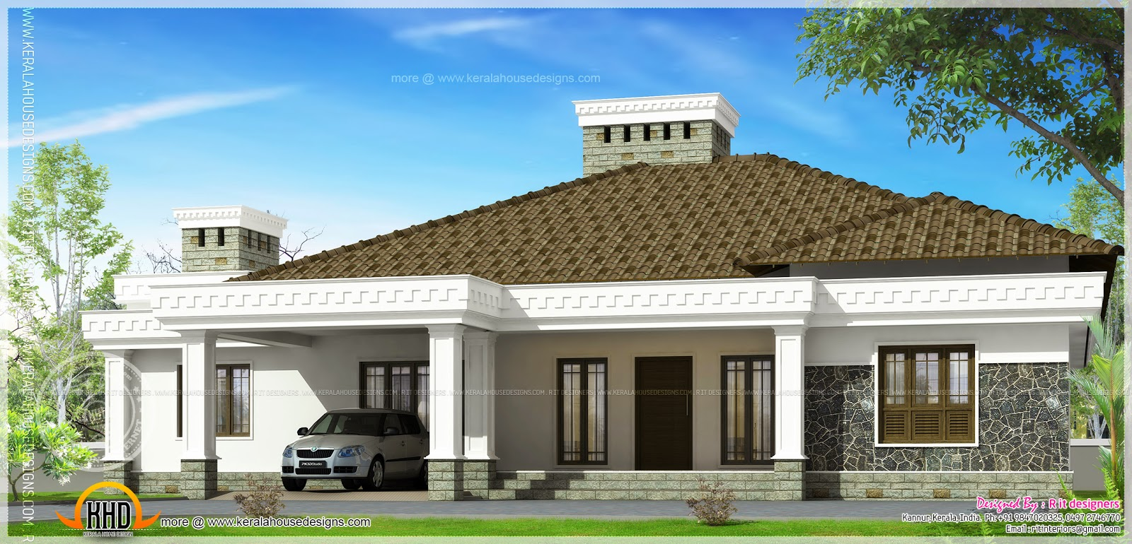 Big single storied house exterior kerala home design and for Single floor 4 bedroom house plans kerala