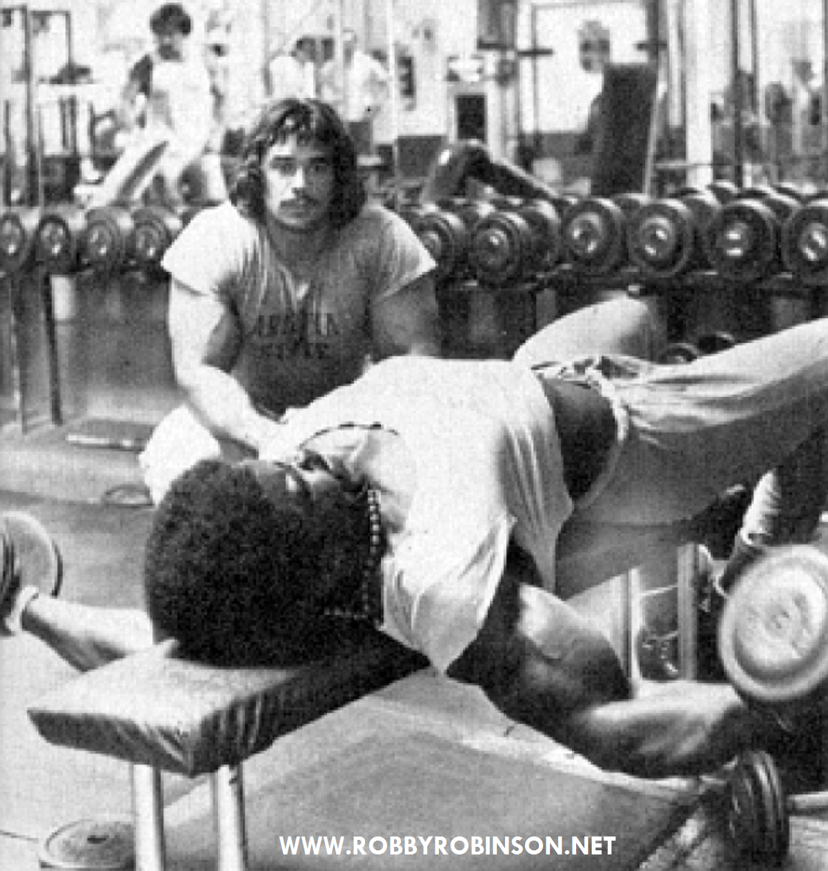 Robby Robinson and Denny Gable - flat bench dumbbell flyes ● www.robbyrobinson.net/motivation.php ●