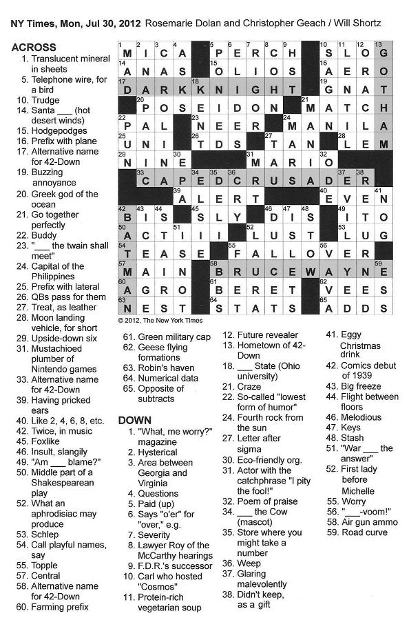 The new york times crossword in gothic july 2012 click on image to enlarge malvernweather Choice Image
