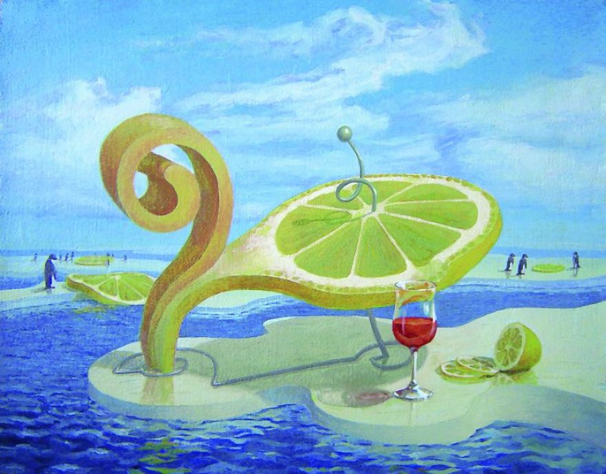 03-Lemon-On-Ice-Floe-Vitaly-Urzhumov-Surreal-Paintings-of-the-World-of-Lemons-and-More-www-designstack-co