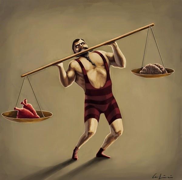 Ilustracion de Hombre fuerte signo Libra