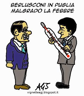 Berlusconi, Fitto, Puglia, vignetta, satira