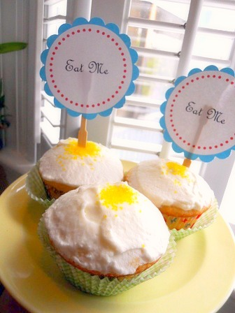 meyer lemon cupcakes, alice in wonderland party, family fun