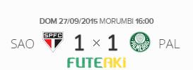 O placar de São Paulo 1x1 Palmeiras pela 28ª rodada do Brasileirão 2015