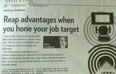 Headline reading Reap Advantages When You Hone Your Job Target