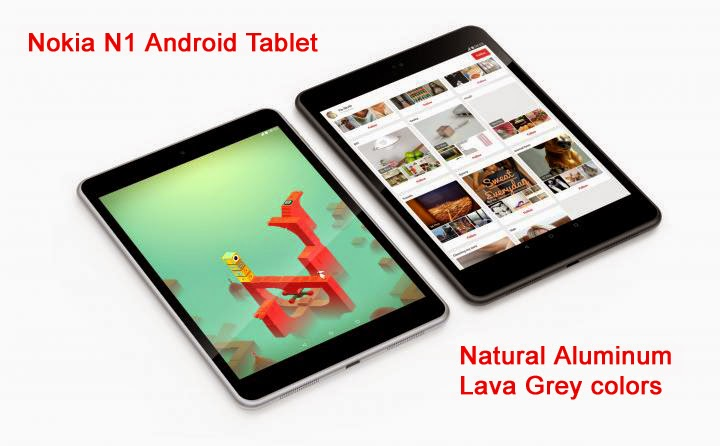 Nokia N1 Android Tablet - Natural Aluminum and Lava Grey colors