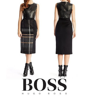 HUGO BOSS Leather and Virgin Wool Blend Textured Plaid Dress