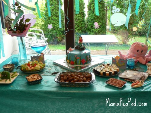mermaid birthday party food table