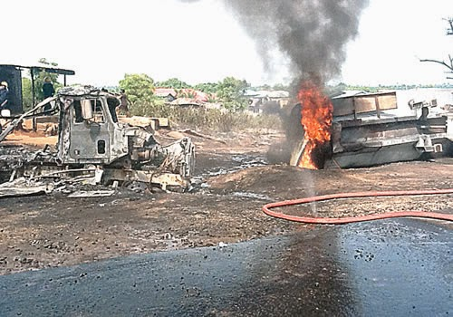 Tragic: Two Pupils, Three Others Burn to Death as Fuel Tankers Collide