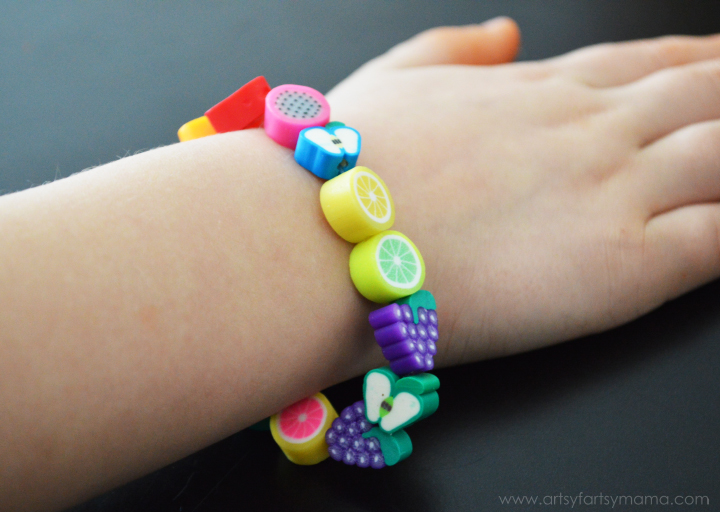 Kids Fruit Jewelry Tutorial at artsyfartsymama.com #kidscraft #summer