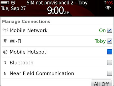 Foto Setting Blackberry Mobile Hotspot WiFi Indosat Telkomsel XL Smartfren IM3