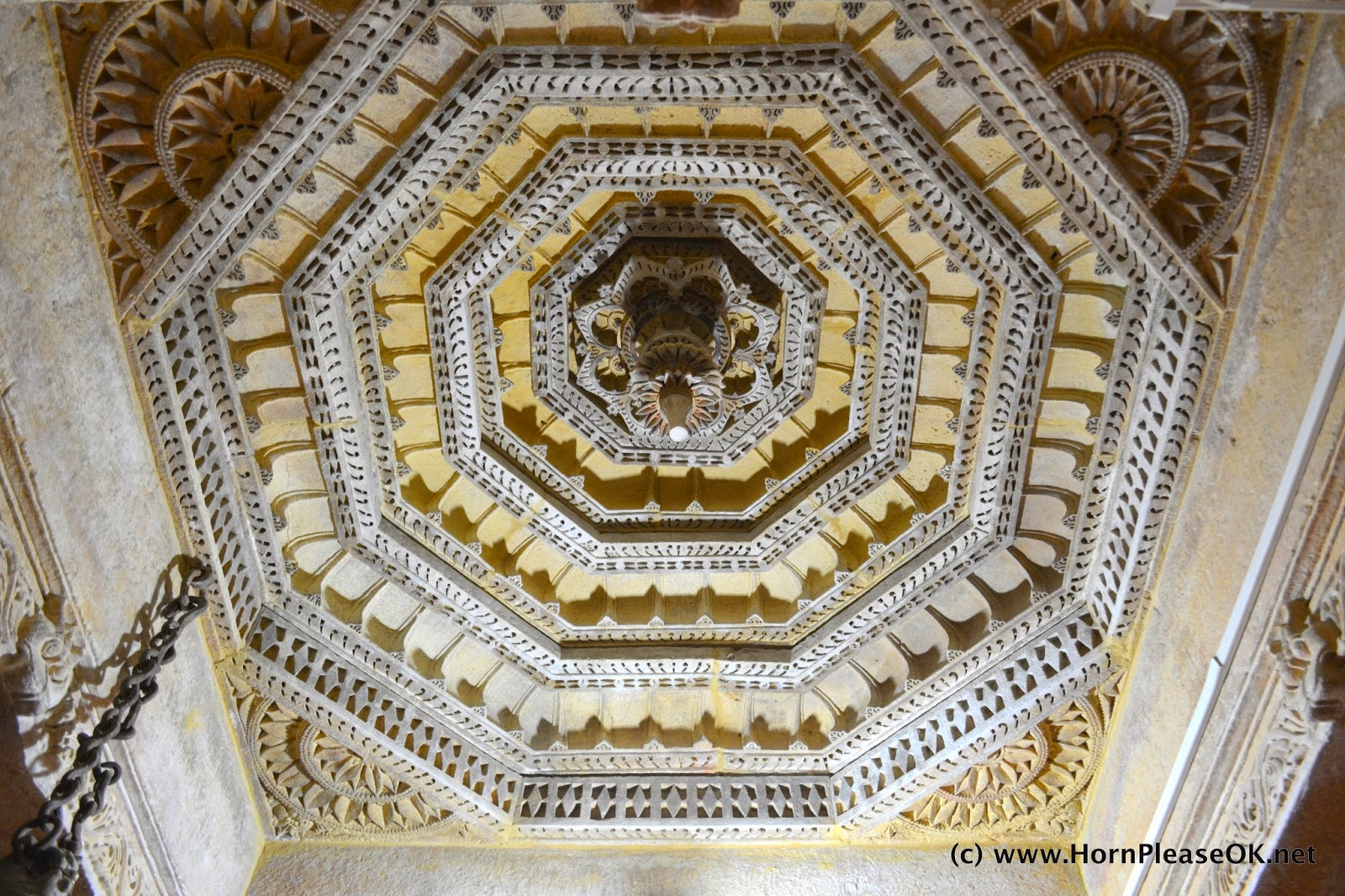 Decorated ceilings of Jain Temples within Jaisalmer Fort