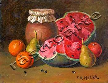 Bodegón con tarro de miel, peras, naranjas y sandía abierta