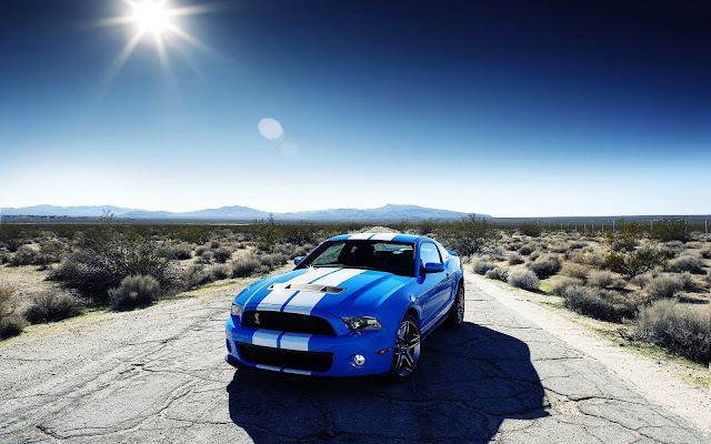 Blue White Stripes Shelby Mustang