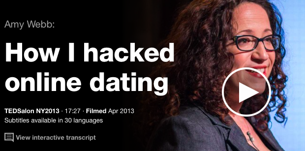 the online dating story of a data analyst in how i hacked online dating a ted talk speech by amy web A data fanatic, webb decided to try online dating, since the matches are based on algorithms — a amy webb was previously an award-winning reporter for newsweek and the wall street journal, and is the author of data: a love story watch her ted talk: how i hacked online dating external link.