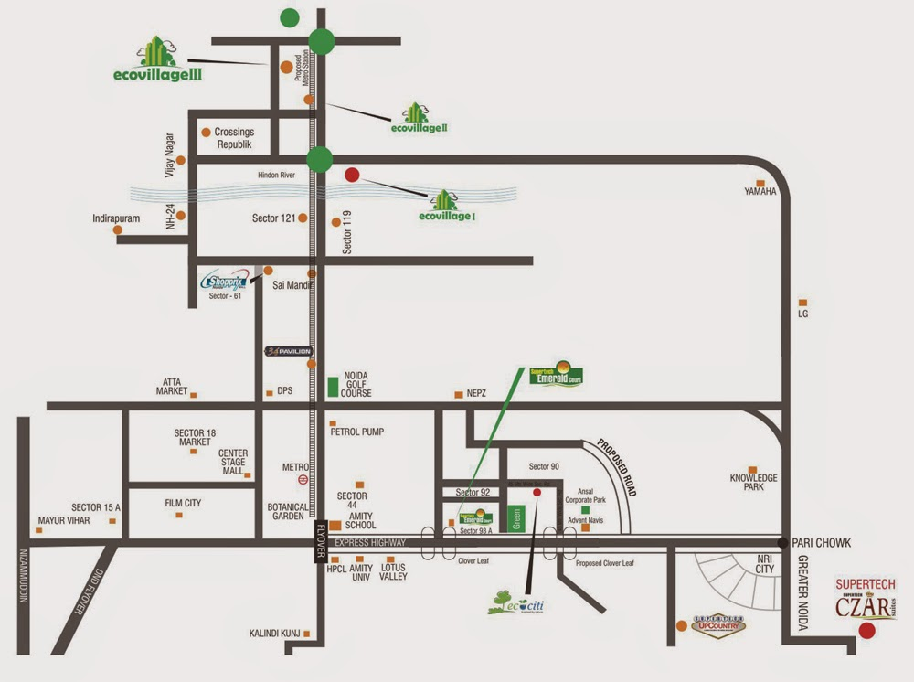Ecovillage Noida Extension :: Location Map