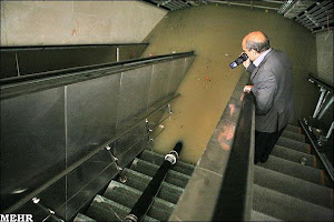 بارش باران بهاری باعث آبگرفتگی در ایستگاه مترو