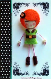 Susie, broches, fieltro, muñecas